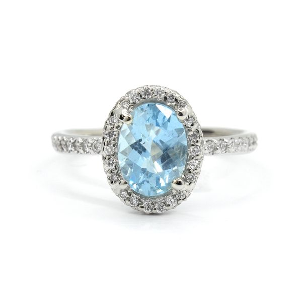 18k White Gold Aquamarine and Diamond Ring Arezzo Jewelers Chicago, IL