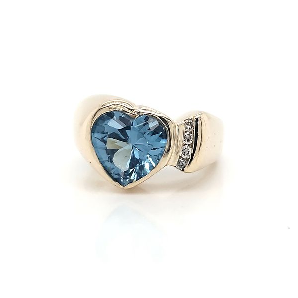 Aqua Heart 14k Yellow Gold Ring Arezzo Jewelers Chicago, IL