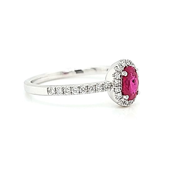 14k White Diamond Halo Ring with Oval Ruby, .50cts Image 2 Arezzo Jewelers Chicago, IL