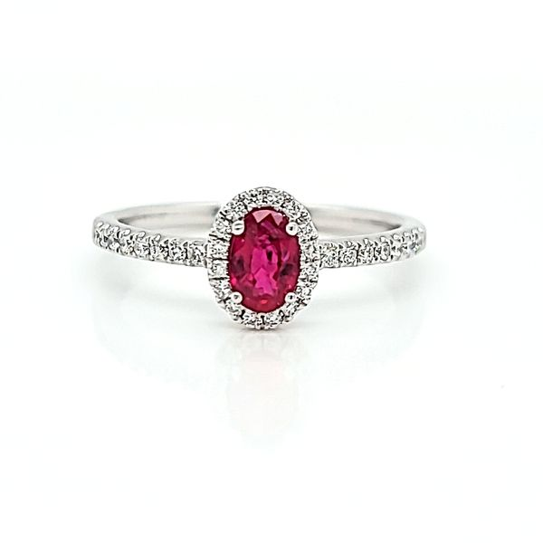 14k White Diamond Halo Ring with Oval Ruby, .50cts Arezzo Jewelers Chicago, IL