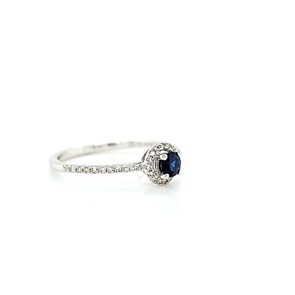 Platinum Diamond and Sapphire Halo Engagement Ring Image 2 Arezzo Jewelers Chicago, IL