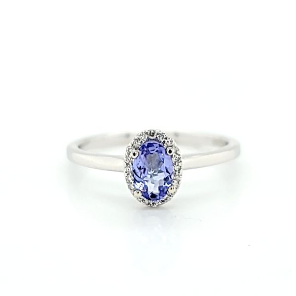 Diamond Halo Solitaire Ring with Oval Tanzanite in 14k White Gold Image 2 Arezzo Jewelers Chicago, IL