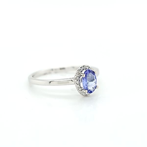Diamond Halo Solitaire Ring with Oval Tanzanite in 14k White Gold Image 3 Arezzo Jewelers Chicago, IL