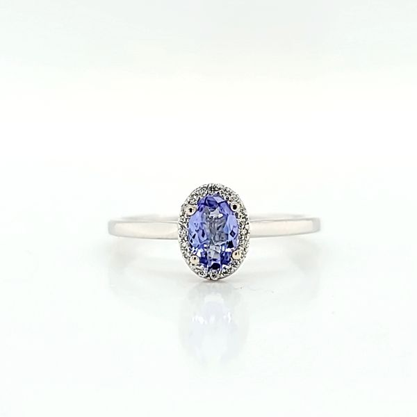 Diamond Halo Solitaire Ring with Oval Tanzanite in 14k White Gold Arezzo Jewelers Chicago, IL