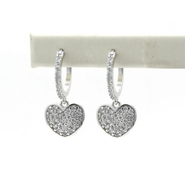 18k Dangle Heart CZ Earrings Arezzo Jewelers Chicago, IL