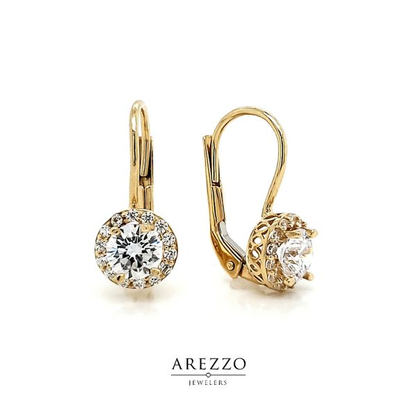 14k Yellow Gold Round Halo CZ Leverback Earrings Arezzo Jewelers Chicago, IL
