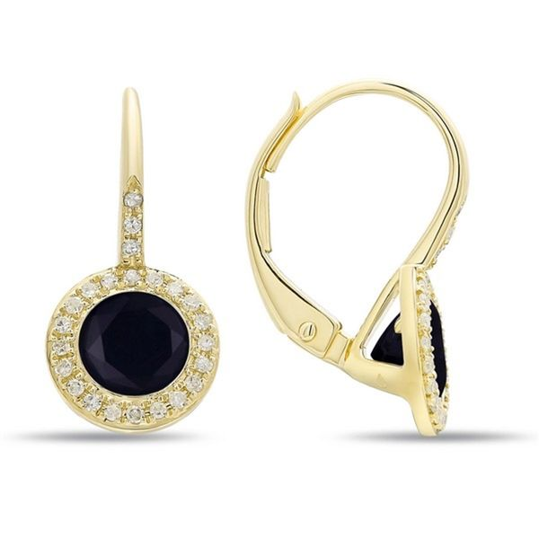 14k Yellow Gold Black Onyx and Diamond Earrings Arezzo Jewelers Chicago, IL