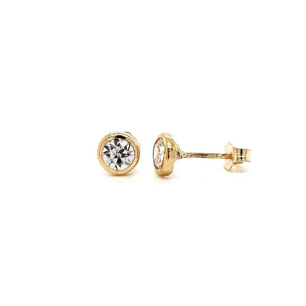 14k yellow gold, bezel-set CZ earrings. Image 2 Arezzo Jewelers Chicago, IL