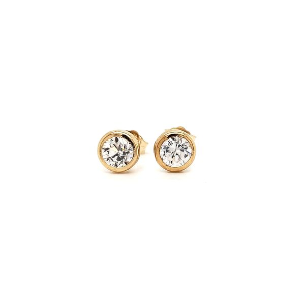 14k yellow gold, bezel-set CZ earrings. Arezzo Jewelers Chicago, IL
