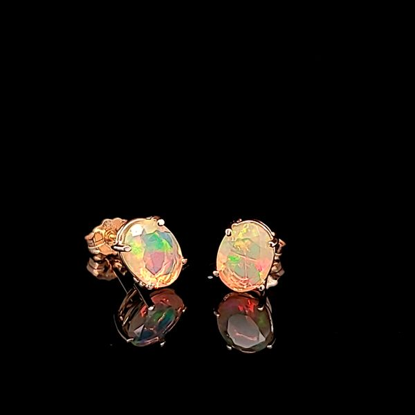 Faceted Oval Opal Stud Earrings in 14k Yellow Gold, 1.26cts Arezzo Jewelers Chicago, IL