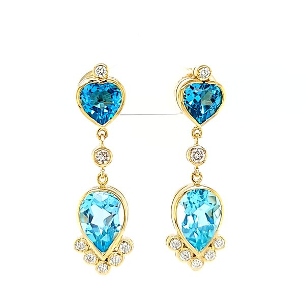 14k Yellow Gold Blue Topaz and Diamond Dangle Earrings Arezzo Jewelers Chicago, IL