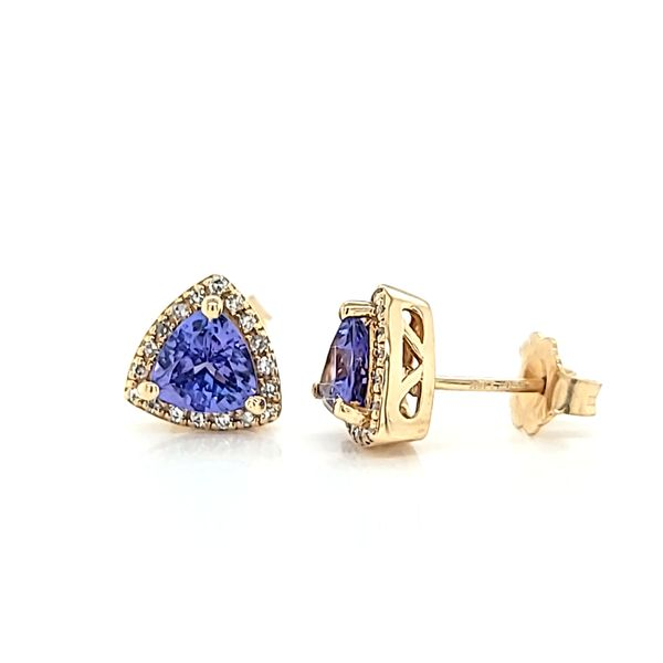 14k Yellow Gold Diamond Halo Tanzanite Stud Earrings, 1.19cts TW Image 2 Arezzo Jewelers Elmwood Park, IL