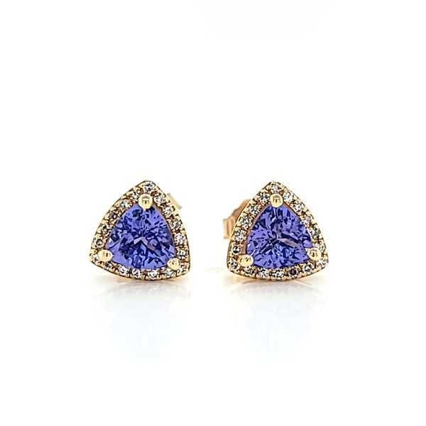 14k Yellow Gold Diamond Halo Tanzanite Stud Earrings, 1.19cts TW Arezzo Jewelers Elmwood Park, IL