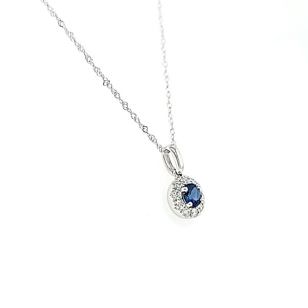 14k White Gold Diamond and Sapphire Halo Pendant Necklace Image 2 Arezzo Jewelers Chicago, IL