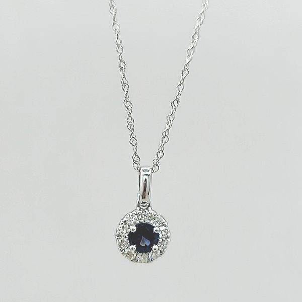14k White Gold Diamond and Sapphire Halo Pendant Necklace Image 3 Arezzo Jewelers Chicago, IL