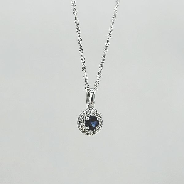 14k White Gold Diamond and Sapphire Halo Pendant Necklace Image 4 Arezzo Jewelers Chicago, IL