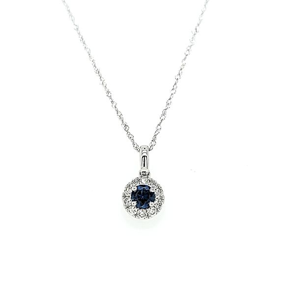 14k White Gold Diamond and Sapphire Halo Pendant Necklace Arezzo Jewelers Chicago, IL