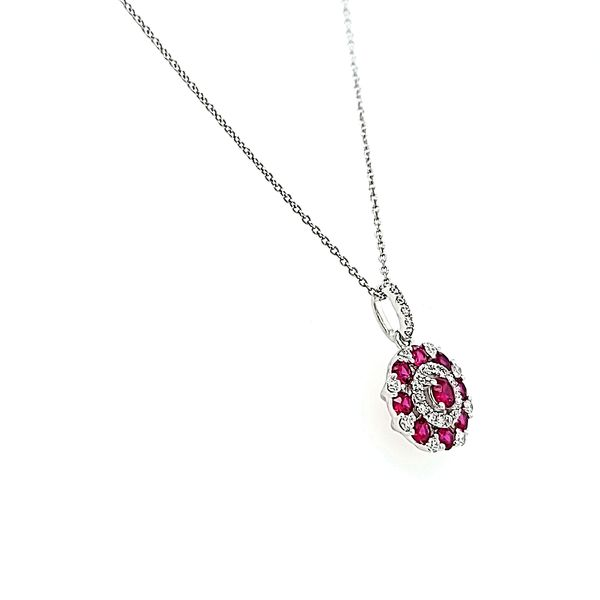 14k White Gold Diamond and Ruby Circle Necklace Pendant Image 2 Arezzo Jewelers Chicago, IL