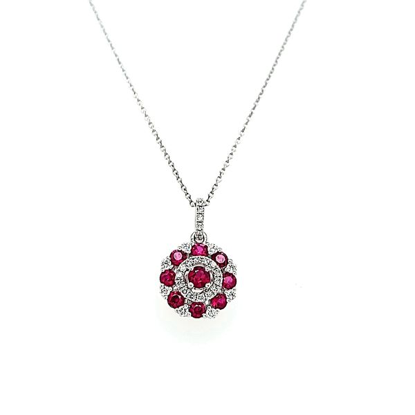 14k White Gold Diamond and Ruby Circle Necklace Pendant Arezzo Jewelers Chicago, IL