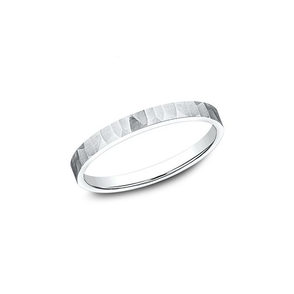 White Gold Hammer Finish Wedding Band, 2mm Arezzo Jewelers Chicago, IL