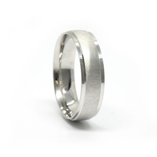 14k White Gold Wedding Band Image 2 Arezzo Jewelers Chicago, IL