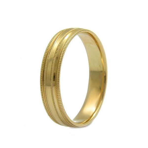Yellow Gold 14 Karat Wedding Band with Milligrain Arezzo Jewelers Chicago, IL