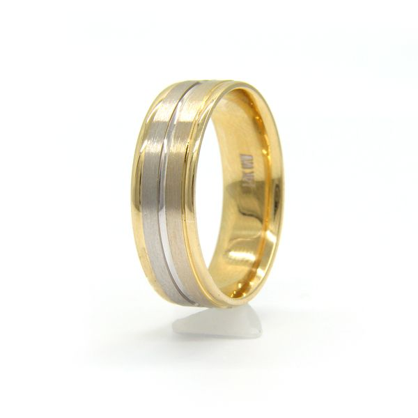 Women's 14k Two Tone Gold Wedding Band Image 2 Arezzo Jewelers Chicago, IL