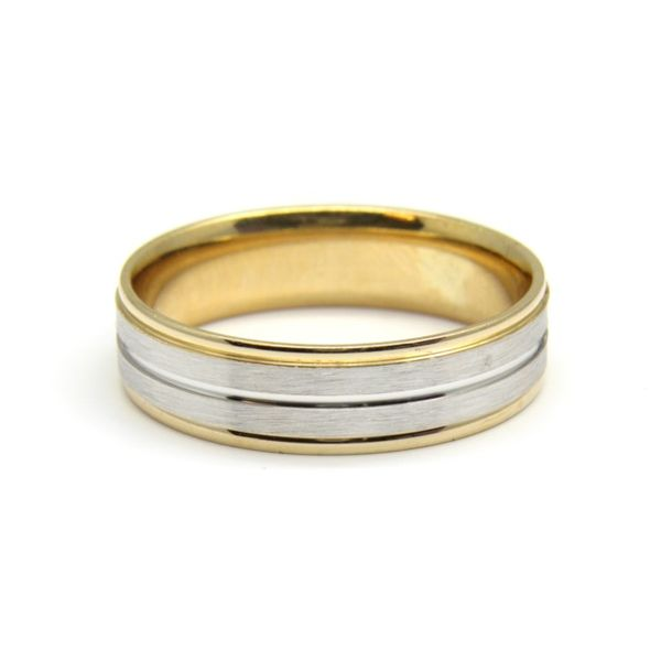 Men's 14k Two Tone Gold Wedding Band Arezzo Jewelers Chicago, IL