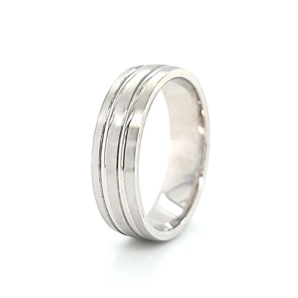 14k White Gold Brushed and Polished 6mm Wedding Band Image 2 Arezzo Jewelers Chicago, IL