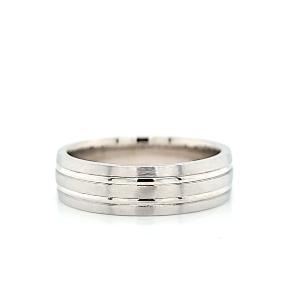 14k White Gold Brushed and Polished 6mm Wedding Band Arezzo Jewelers Chicago, IL