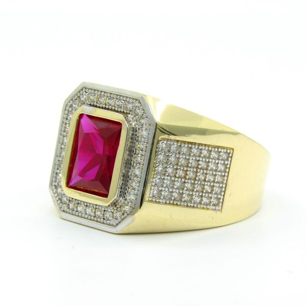 14k Gold Men's Red CZ Ring Image 2 Arezzo Jewelers Chicago, IL