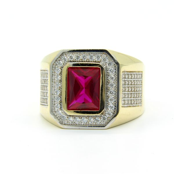 14k Gold Men's Red CZ Ring Image 3 Arezzo Jewelers Chicago, IL