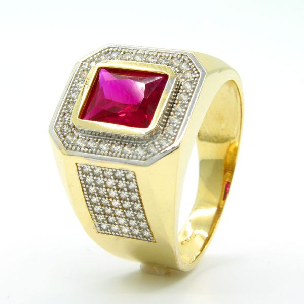 14k Gold Men's Red CZ Ring Arezzo Jewelers Chicago, IL