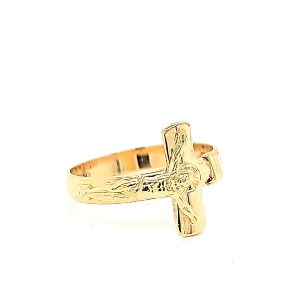 18K Yellow Gold Cross Ring Image 2 Arezzo Jewelers Chicago, IL