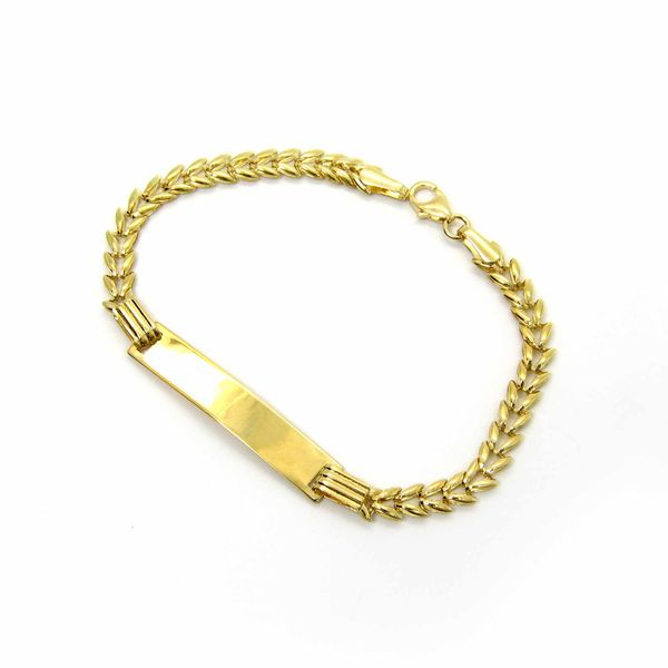 14k Yellow Gold Baby ID Bracelet - 6