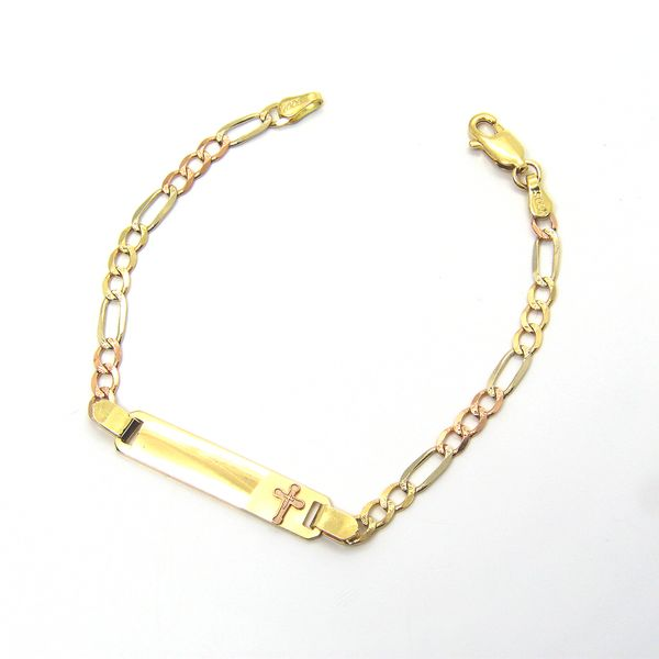 14k Tri Color Gold Children's ID Braclet Image 2 Arezzo Jewelers Chicago, IL