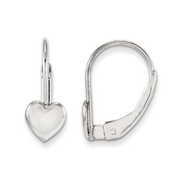 14k White Gold Heart Leverback Children's Earrings Arezzo Jewelers Chicago, IL