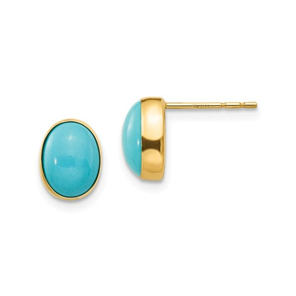 14k Bezel Set Oval Turquoise Children's Earrings Arezzo Jewelers Chicago, IL