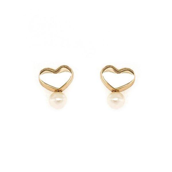 14k Yellow Gold Heart Earring with Pearl Arezzo Jewelers Chicago, IL