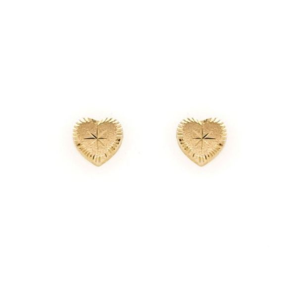 14k Yellow Gold D/C Heart Earrings Arezzo Jewelers Chicago, IL