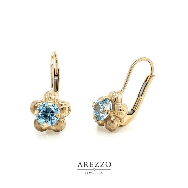 14k Yellow Gold Children's Flower Leverback Earrings Arezzo Jewelers Chicago, IL