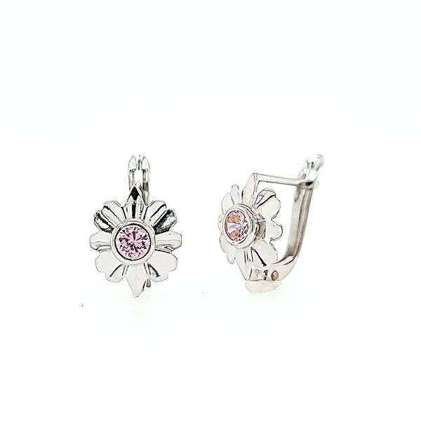 18k White Gold Daisy Leverback Children's Earrings Image 2 Arezzo Jewelers Chicago, IL