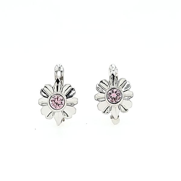 18k White Gold Daisy Leverback Children's Earrings Arezzo Jewelers Chicago, IL