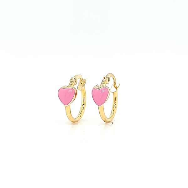 18k Yellow Gold Small Hoop Earrings with Pink Enamel Heart Image 2 Arezzo Jewelers Chicago, IL
