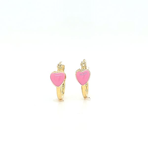 18k Yellow Gold Small Hoop Earrings with Pink Enamel Heart Arezzo Jewelers Chicago, IL