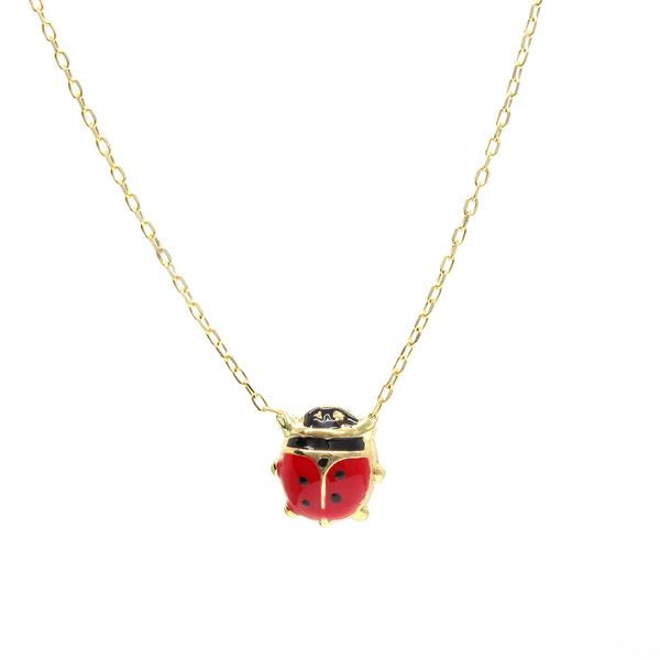 14k YG Children's Ladybug Necklace - 16