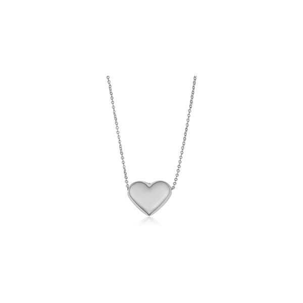 14k White Gold Petite Puffed Heart Necklace Arezzo Jewelers Chicago, IL