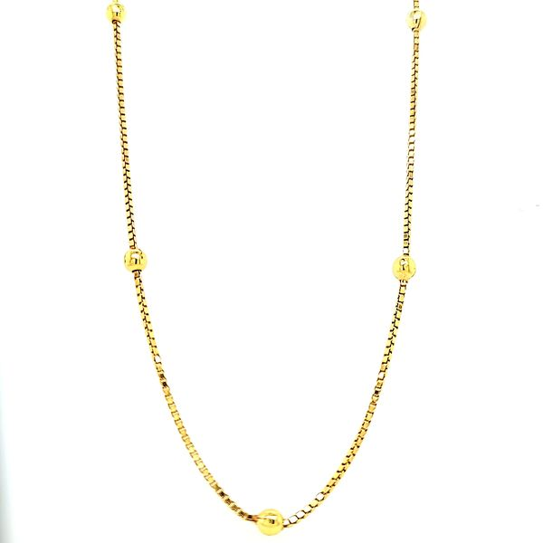 14k Yellow Gold Ball Bead Necklace Image 2 Arezzo Jewelers Chicago, IL