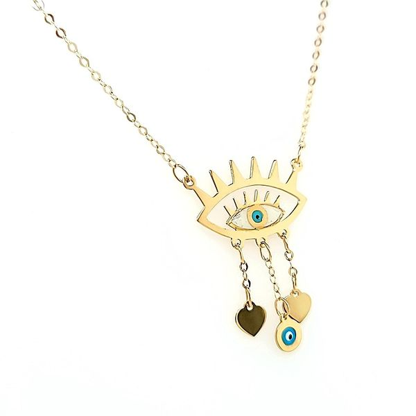 18kt Yellow Gold Evil Eye Necklace Image 2 Arezzo Jewelers Chicago, IL