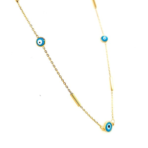 14k Yellow Gold Evil Eye Necklace Image 2 Arezzo Jewelers Chicago, IL